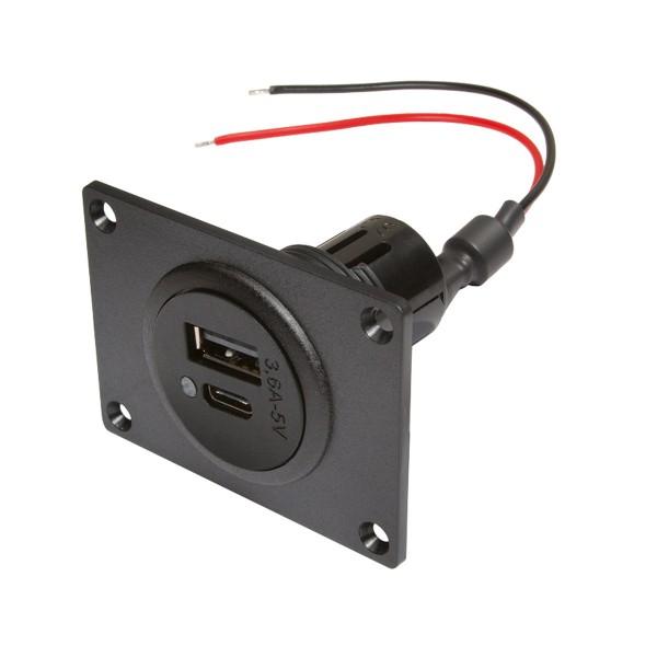 Dual USB Ladeadapter für Aufbau -12v und 24V - 3,6A Ladestrom - Panelmontage