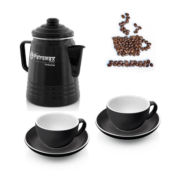 KAFFEE SET SUNDAY - Petromax Perkolator + 2 x Tassenset mit Unterteller - perfekter Sonntag Morgen
