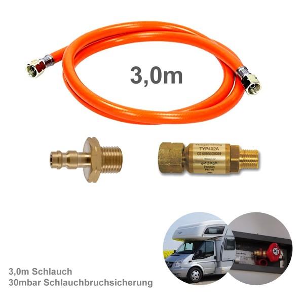 Wohnmobil Anschluss KIT 300cm - Schnellkupplung, Schlauchbruchsicherung 30mbar - Adapter