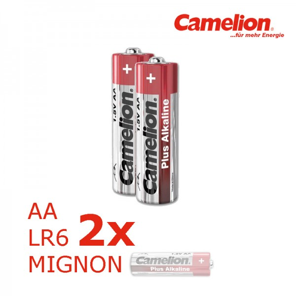 Batterie Mignon AA LR6 1,5V PLUS Alkaline - Leistung auf Dauer - 2 Stück - CAMELION