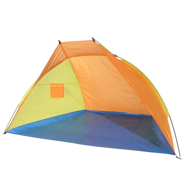 Strandmuschel - L: 220 x B: 115 x H: 115cm - Orange/Blau/Gelb