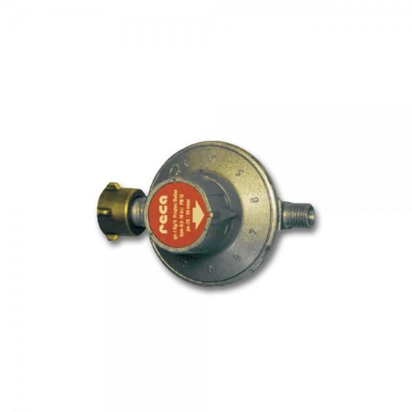 "Gasregler Niederdruck 30-50mbar - 11 Stufen regelbar - 1kg/h - KLF x 1/4"" links - CAMPING"