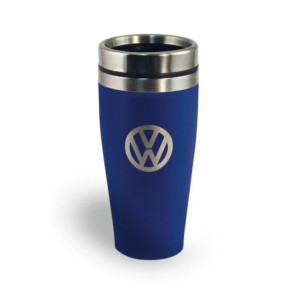 """Thermobecher 400ml """"VW Volkswagen blau"""" - Anti-Rutsch Boden - Doppelwandig - 18/8 Edelstahl"""