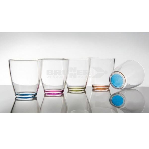 Trinkgläser TAHITI - 5er Set - 5 Farben - bruchfester Kunststoff - 200ml