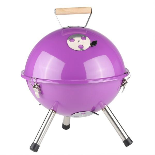 Mini Kugelgrill - Holzkohle Grill - Höhe 45cm - Holztragegriff - Metall - violett