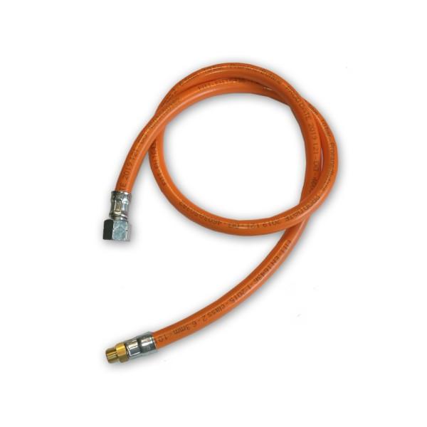 """Gasschlauch Mitteldruck orange - 2 Meter - 6,3x3,5mm, G3/8"""" LH-ÜM x AG 7/16""""x28 UNEF"""