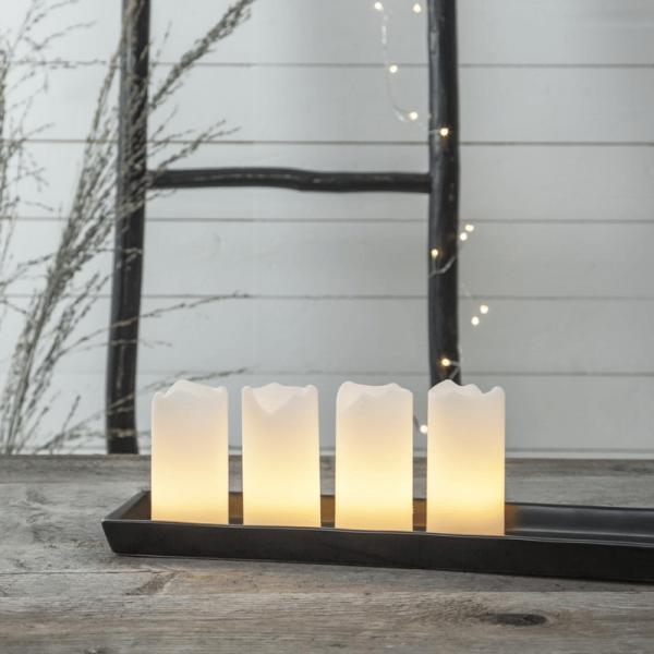 "LED Kerzenset ""Advent"" - Echtwachs - flackernde LED - Timer - Fernbedienung - weiß - 4er Set"