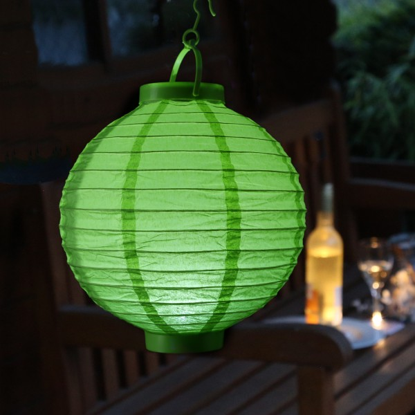 LED Lampion FESTIVAL - kaltweiße LED - D: 30cm - Montagehaken - grün