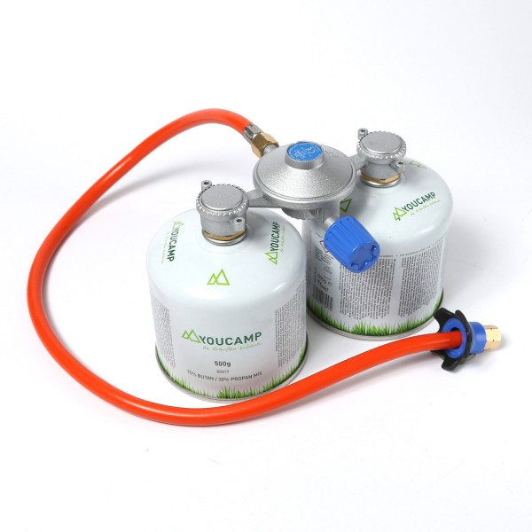 CADAC Dual-Power-Pak KOMPLETTSET - Adapter inkl. 2 Gaskartuschen - 30mbar - inkl. 85cm Schlauch