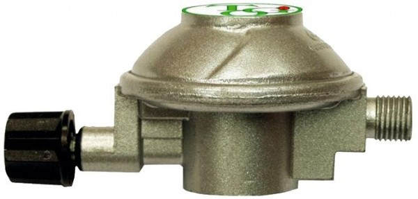 """Gasregler Für Druckgasdosen HP auf 50mbar - 1kg/h - 7/16"""" x 1/4"""" links - einstufig - CAMPING"""