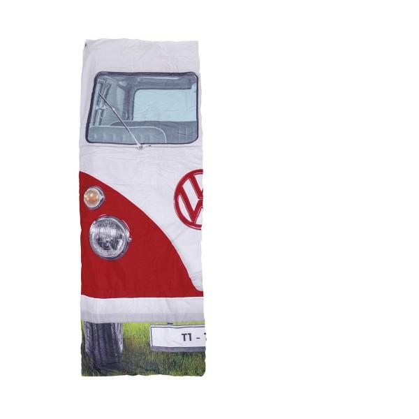VW Collection - T1 Bulli Schlafsack rot - 2 Jahreszeiten - +5°C bis +15°C - wasserdichtes Pongee Gewebe