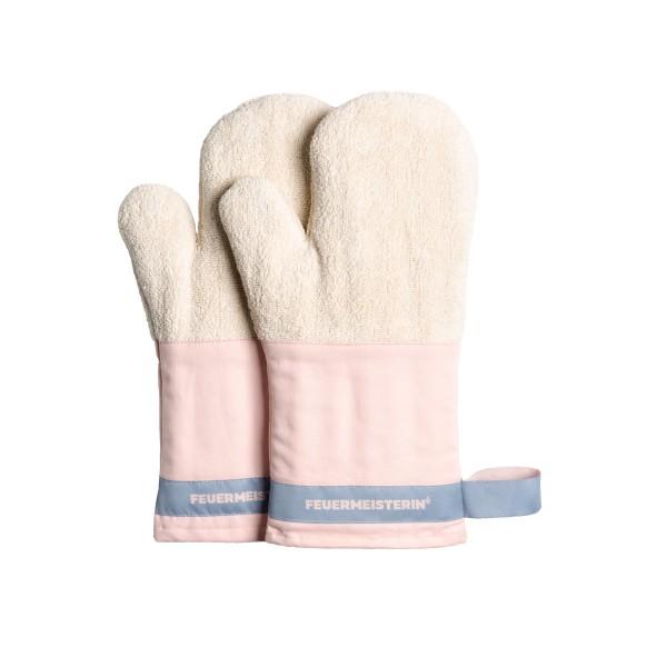 Feuermeisterin Premium Textil Back- und Kochhandschuhe rosa Stulpe/blaues Band, Paar