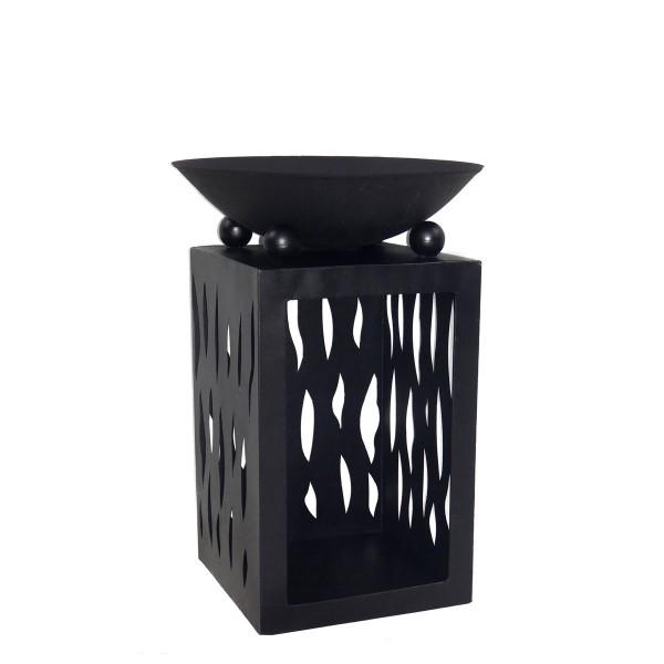 Feuerschale 45cm auf Säule mit Holzfach, Gusseisen, schwarz pulverbeschichtet