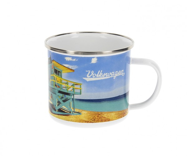 VW Collection Emaille Tasse BEACHLIFE - 500ml - mit Edelstahlrand