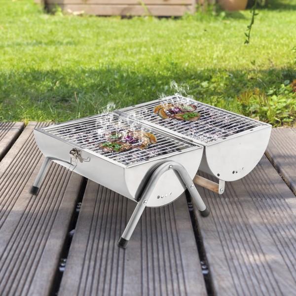 Picknick Grill - Edelstahl - Grillhöhe ca. 17cm - inkl. zwei Kohleroste