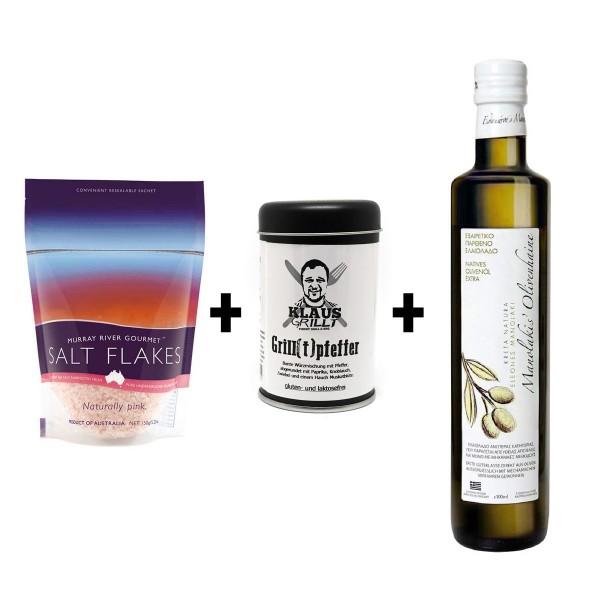 Baguette-Tapas-Set - Ölivenöl + Grillpfeffer + Flockensalz = lecker!