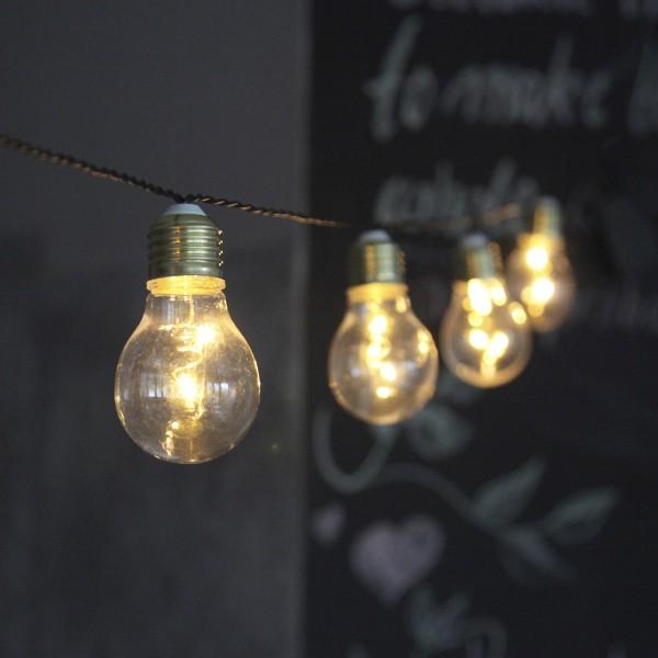"LED Party Lichterkette ""Glow"" - 5 Birnen á 2 warmweiße LED - L: 1m - Batterie - Timer - outdoor"