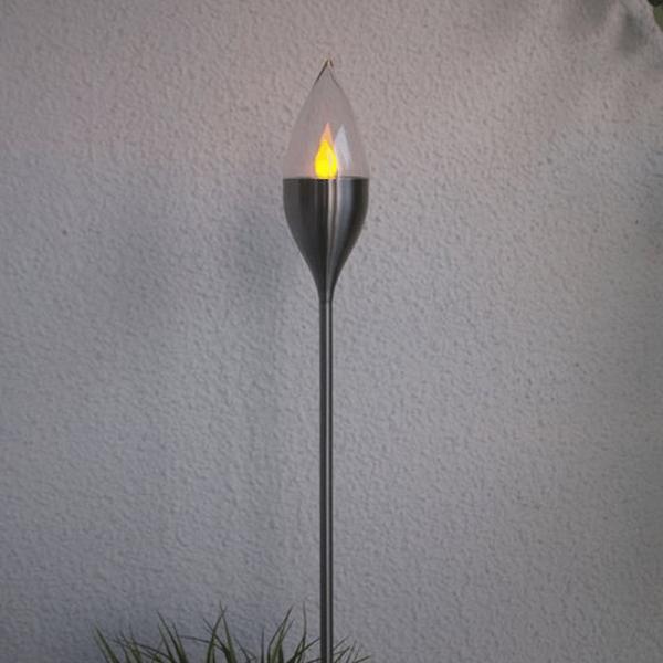 LED Gartenfackel OLYMPOS SOLAR - Edelstahlspieß silber - Sensor - 115cm - >6h
