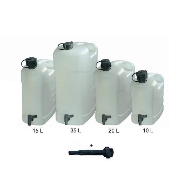 Combi Wasserkanister HPDE - 15 Liter - stabiler Kunststoff HDPE - mit Einfüllstutzen und Ausgießer