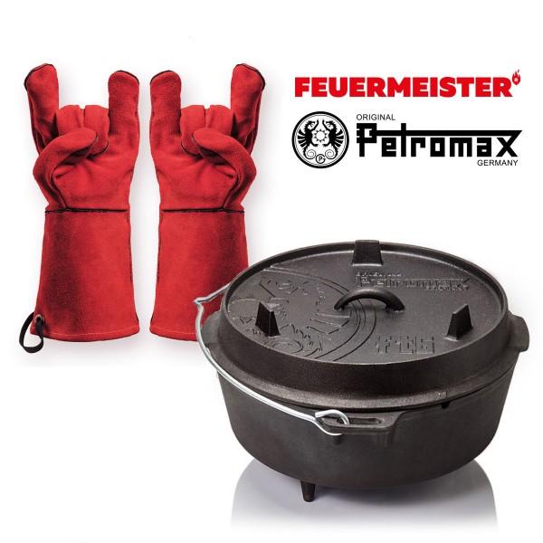Dutch Oven Set - Petromax FT6 + Feuermeister Lederhandschuhe Gr. 12