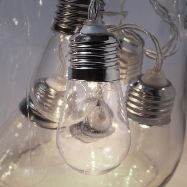 LED Lichterkette - 10 transparenten Glühbirnen - 10 warmweiße LED - L: 90cm - Batterie