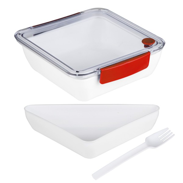 Lunchbox mit Gabel - 2 Fächer - 18,5 x 18,5 x 5cm - 1000ml - rot