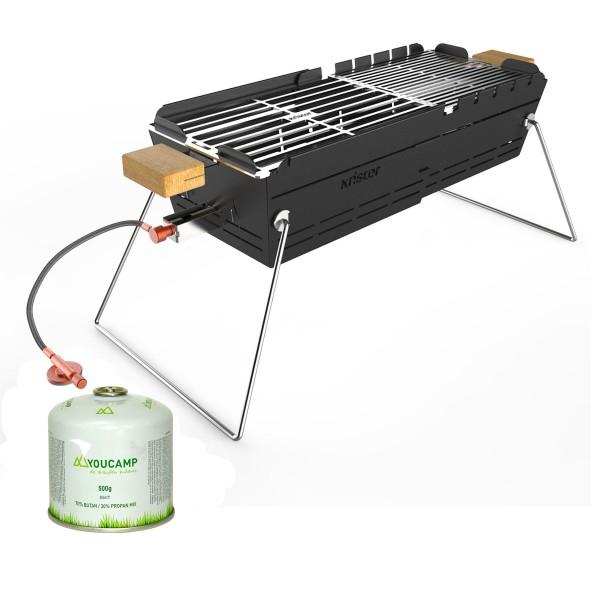 KNISTER Gasgrill - ausziehbar - inkl. Gratis Gaskartusche - Made in Germany