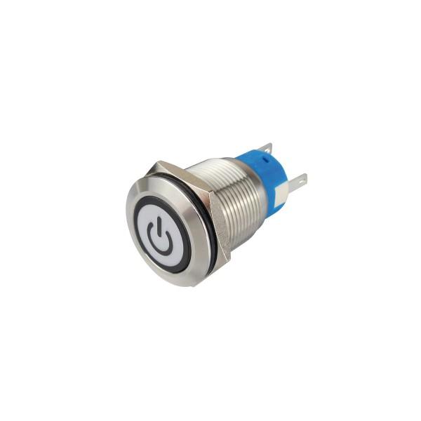 Metallschalter beleuchtet - mit An/Aus Symbol - max 230V 5A - IP67 - 19mm Einbaudurchmesser