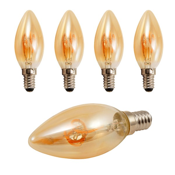 4 x LED Kerzenlampe RETRO-GOLD-Filament - E14 - 2W - 150lm - 2200K