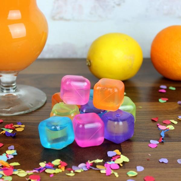 Bunte Eiswürfel in orange, pink, blau, gelb und lila - Kunststoff - wiederverwendbar - 10 Stück