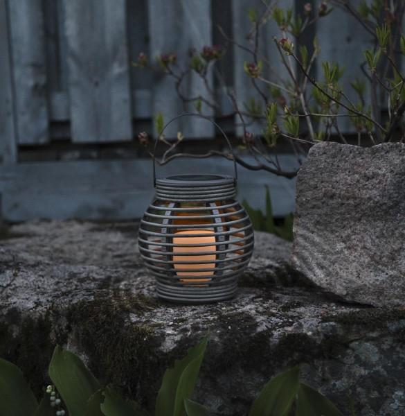 "LED Solar Laterne ""Rotang"" - warmweiße LED - H: 16cm - D: 16cm - Dämmerungssensor - grau"