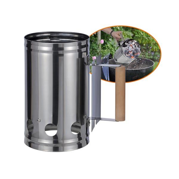 Anzündkamin aus Edelstahl für Kohle und Briketts - 17cm Durchm. - 27cm hoch - Hitzeschutz