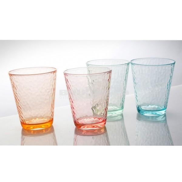 Trinkgläser VINTAGE - 4er Set - 4 Farben - bruchfestes Polycarbonat- 300ml
