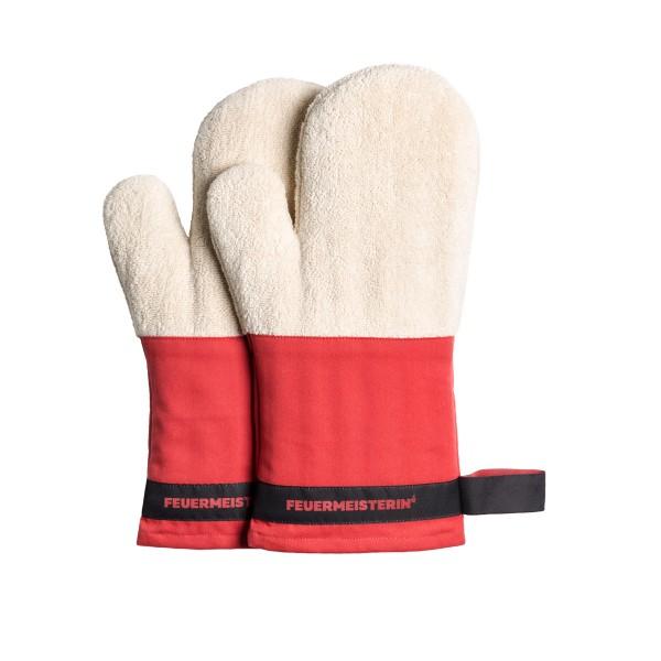 Feuermeisterin Premium Textil Back- und Kochhandschuhe rote Stulpe/schwarzes Band, Paar