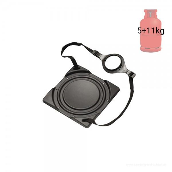 Gasflaschenhalter Bodenplatte mit Gurtsystem - für 5 & 11kg Gasflaschen