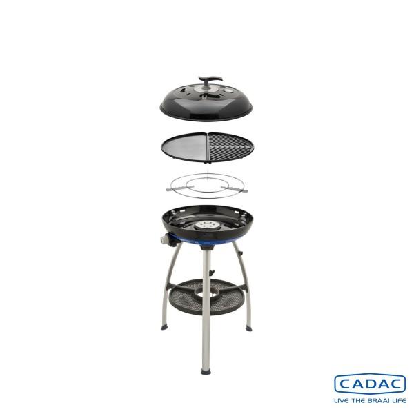 CADAC Carri Chef 2 BBQ / PLANCHA - 50mbar - mobiler Gasgrill - Grillplatte/Plancha - Deckel