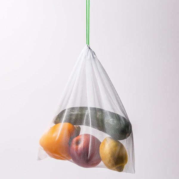 Obst- und Gemüsenetz - Polyester - L: 35cm - B: 25cm - grüner Kordelzug - wiedervenwendbar