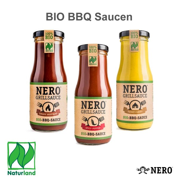 NERO BIO Grillsaucen - 3er Set - SWEET CURRY - SPICY PEPPER - SMOKY MUSTARD - je 250g Gläser