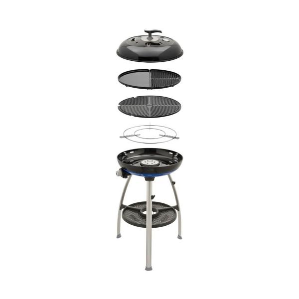 CADAC Carri Chef 2 GRILL2BRAAI - 30mbar - mobiler Gasgrill - Grillrost/Grillplatte/Plancha - Deckel