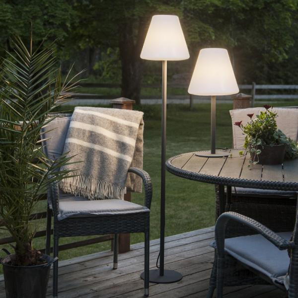 B-Ware Garten Beistelllampe/Stehlampe - H: 150cm - weißer 28cm Lampenschirm - E27 Fassung - Outdoor