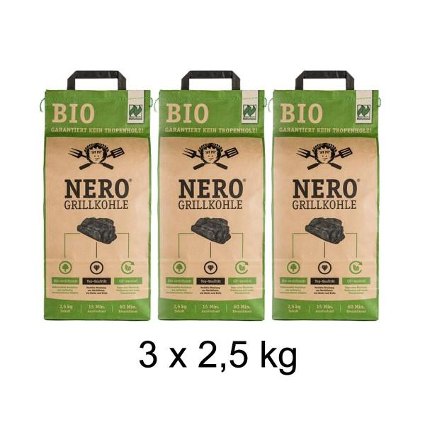 NERO BIO Grill-Holzkohle - 3 x 2,5kg Sack - Garantiert ohne Tropenholz - Holz aus Deutschland
