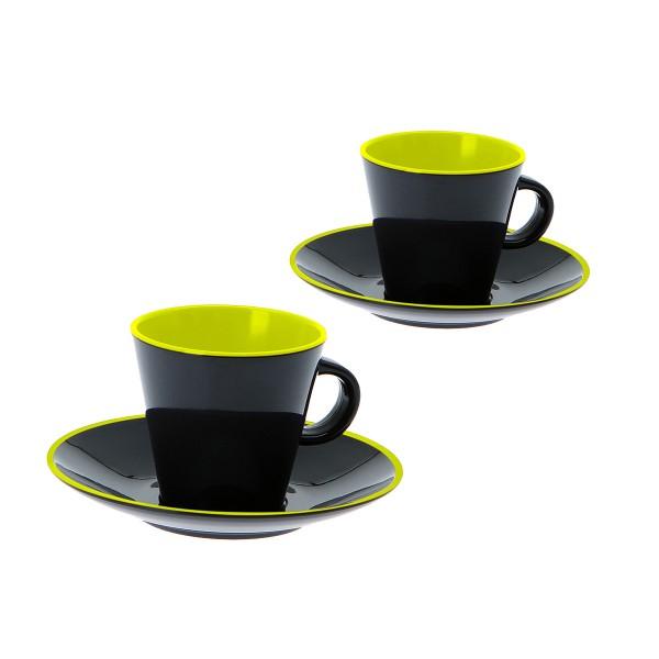 """GIMEX GreyLine """"lemon-grau"""" - Espresso Set 2 Personen - bruchfestes Melamin Campinggeschirr"""