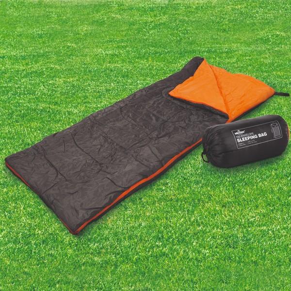 Schlafsack - 2 Wege Reißverschluss - L: 170cm - inkl. Tragetasche - Anthrazit/Orange