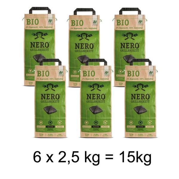 NERO BIO Grill Holzkohle Briketts - 6 x 2,5kg Sack - Garantiert ohne Tropenholz - Holz aus Deutschland
