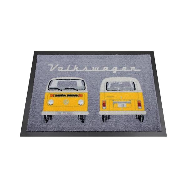 """Fußmatte """"VW T2 gelb"""" - 70 x 50cm - 100% Nylon, waschbar, PVC Rücken - MADE IN EU"""