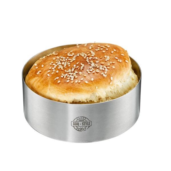 Burger-Ring - Edelstahl - 10,8cm x 4cm - Praktische Anricht-Hilfe