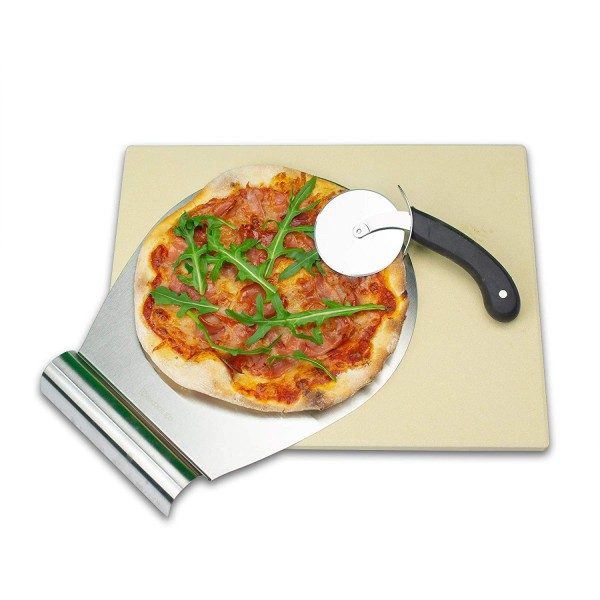 RADOLEO® Pizzastein L aus Cordierit | Premium Set 3-tlgl | 38x30cm | inkl. Pizzaroller u. Schieber