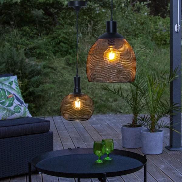 LED Solar Lampe SUNLIGHT - warmweiße LED - H: 35cm, D: 29cm - hängend - schwarz