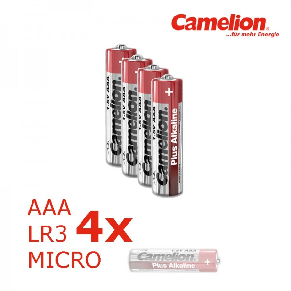 Batterie Mignon AAA LR3 1,5V PLUS Alkaline - Leistung auf Dauer - 4 Stück - CAMELION