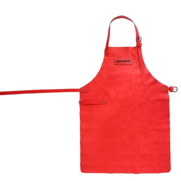 FEUERMEISTER Lederschürze in Antikleder Farbe Rot mit 2 Taschen Größe 1